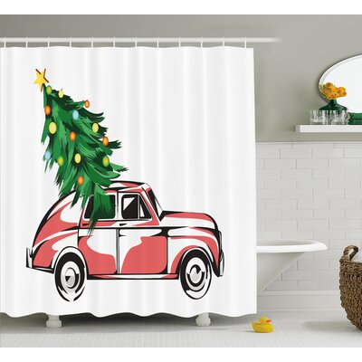 Christmas Retro Classic Car Shower Curtain Size: 69 H x 70 W