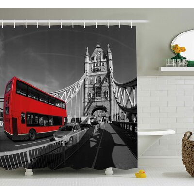 London Bus Shower Curtain Size: 69 H x 84 W