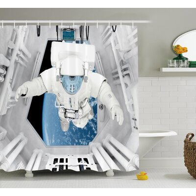 Astronaut  Decor Shower Curtain Size: 69 H x 70 W