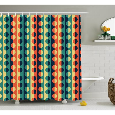 Striped Half-pattern Ring Decor Shower Curtain Size: 69