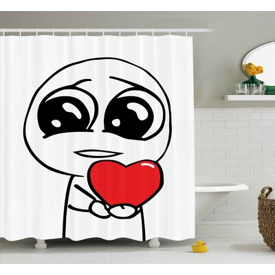 Face with A Heart Decor Shower Curtain Size: 69 H x 75 W