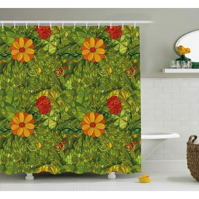 Foliage Bush Shower Curtain Size: 69 H x 70 W