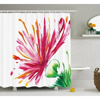 Oriental Lily Decor Shower Curtain Size: 69 H x 70 W