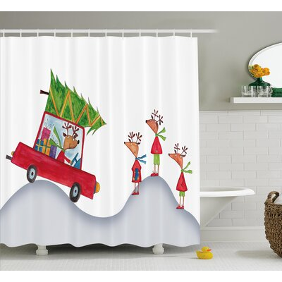 Christmas Reindeer Family Shower Curtain Size: 69 H x 75 W