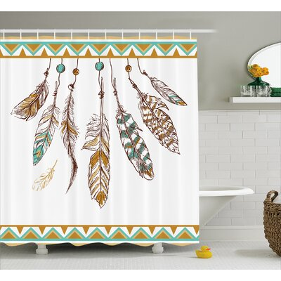 Indian Old Hippie Feather Decor Shower Curtain Size: 69 H x 84 W
