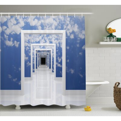 Sky with clouds Decor Shower Curtain Size: 69 H x 70 W