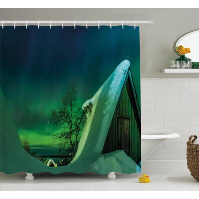 Wooden Roof House Icy Shower Curtain Size: 69 H x 84 W