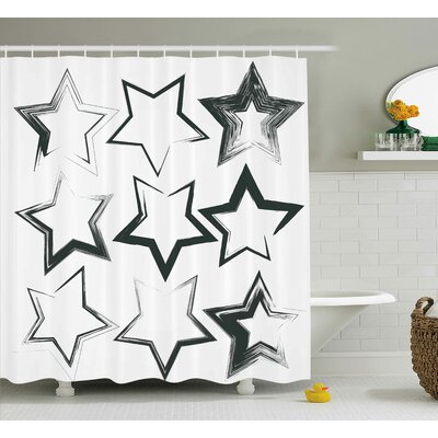 Stars Decor Shower Curtain Size: 69 H x 84 W