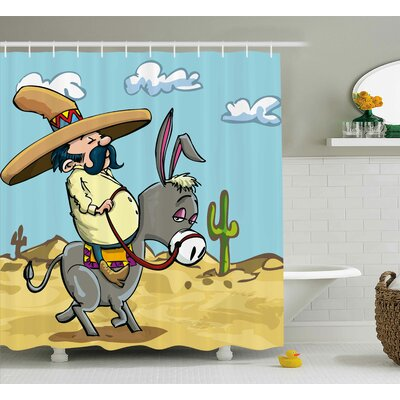 Sombrero Man Shower Curtain Size: 69 H x 84 W