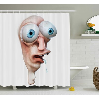 Stupid Derp Human Face Decor Shower Curtain Size: 69 H x 84 W