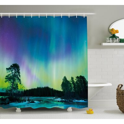 Sky Over Lake Shower Curtain Size: 69 H x 84 W