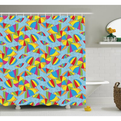 Cute Umbrellas Decor Shower Curtain Size: 69 H x 70 W