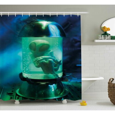 UFO Shower Curtain Size: 69 H x 75 W