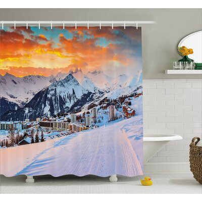 Winter Scenery Decor Shower Curtain Size: 69 H x 70 W