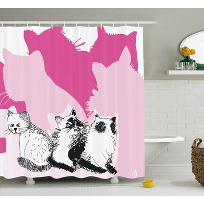 Kittens Shower Curtain Size: 69 H x 70 W