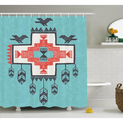 Icons Birds Native American Decor Shower Curtain Size: 69 H x 84 W