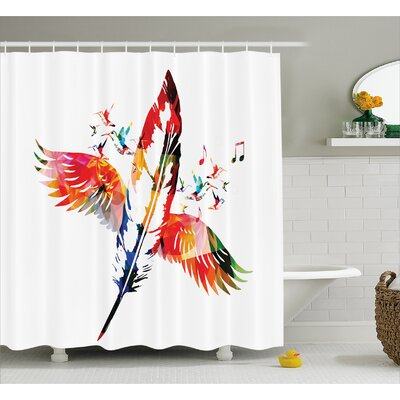 Feather Fashioned of A Bird Decor Shower Curtain Size: 69 H x 84 W