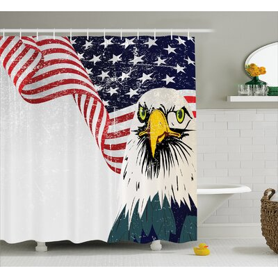 Eagle and Flag Decor Shower Curtain Size: 69 H x 84 W