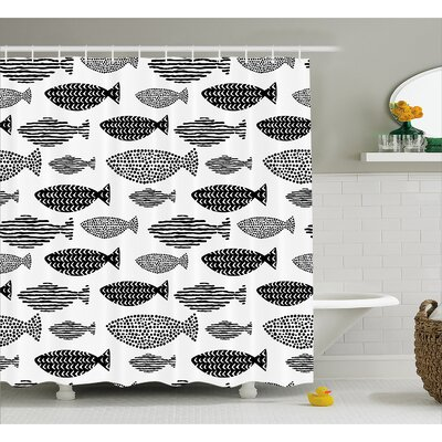 Fish with Pared Dots and Stripped Decor Shower Curtain Size: 69 H x 70 W