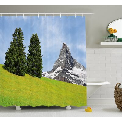 View of Mountain Decor Shower Curtain Size: 69 H x 84 W