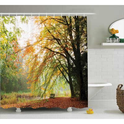 Clovis Autumn Forest Decor Shower Curtain Size: 69 H x 70 W