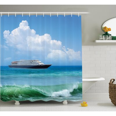 View of Ship Nautical Decor Shower Curtain Size: 69 H x 70 W