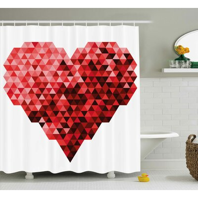 Heart Shower Curtain Size: 69 H x 70 W
