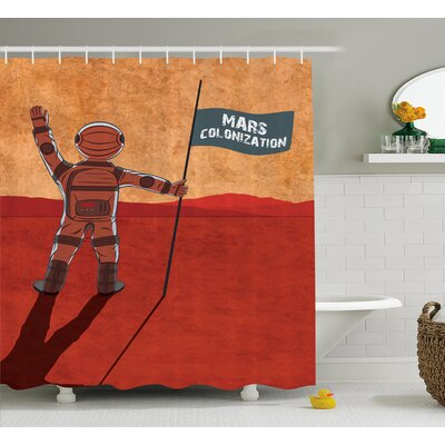 Mars Colonization Decor Shower Curtain Size: 69 H x 75 W