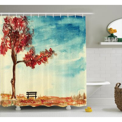 Clovis Tree and Bench Decor Shower Curtain Size: 69 H x 70 W