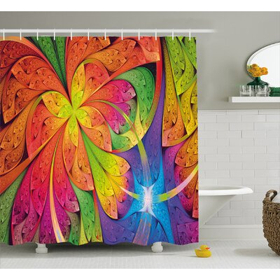 Contrast Curved Leaves Shower Curtain Size: 69 H x 84 W