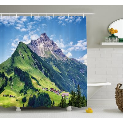 Mountains Decor Shower Curtain Size: 69 H x 70 W