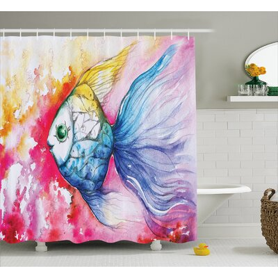 Fish Painted Decor Shower Curtain Size: 69 H x 70 W