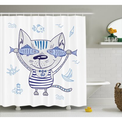 Cat with Fish Decor Shower Curtain Size: 69 H x 70 W