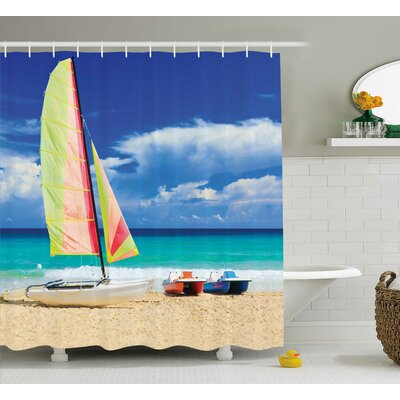 Boat and Waves Decor Shower Curtain Size: 69 H x 75 W