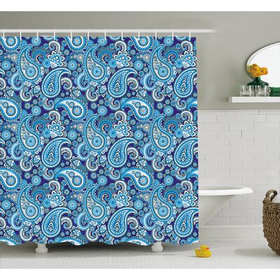 Traditional Flowers Decor Shower Curtain Size: 69 H x 75 W