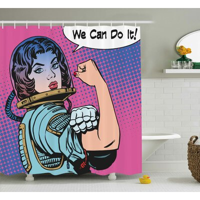 Woman Rights Shower Curtain Size: 69 H x 75 W