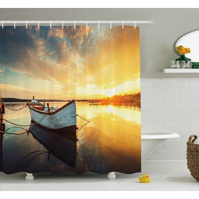 Small Boat on Water Decor Shower Curtain Size: 69 H x 75 W