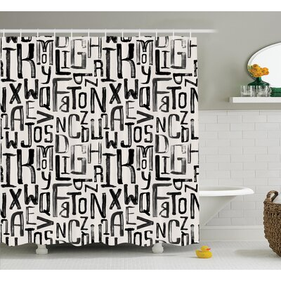 Artsy Grunge Letters Decor Shower Curtain Size: 69 H x 84 W