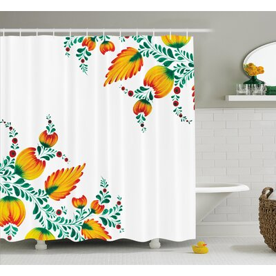 Japanese Watercolor Flower Decor Shower Curtain Size: 69 H x 70 W