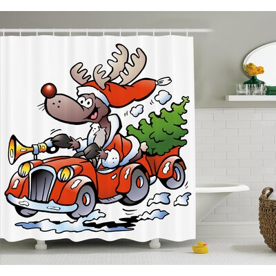 Christmas Reindeer Racing Shower Curtain Size: 69 H x 70 W