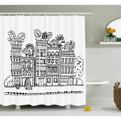 Apartment Decor Shower Curtain Size: 69 H x 70 W