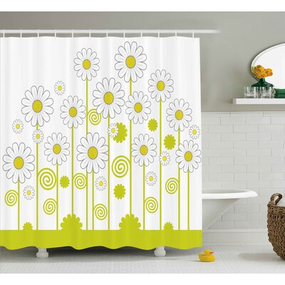 Daisy Flowers Shower Curtain Size: 69 H x 70 W