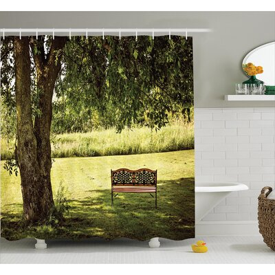 Clovis Wooden Bench Under Tree Decor Shower Curtain Size: 69 H x 75 W