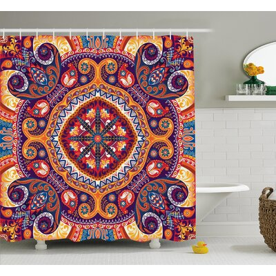 Arabic Ornamental Decor Shower Curtain Size: 69 H x 84 W