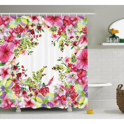 Curly Willow and Dahlia Floral Decor Shower Curtain Size: 69 H x 84 W
