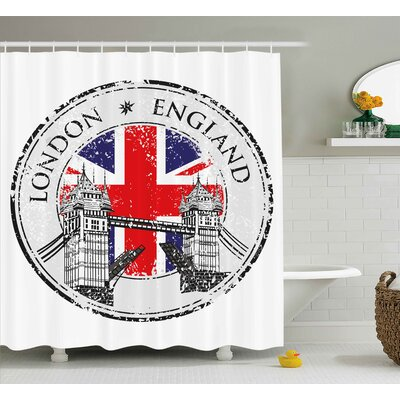 London England Grunge Stamp Shower Curtain Size: 69 H x 75 W