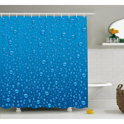 Water Drops Decor Shower Curtain Size: 69 H x 70 W