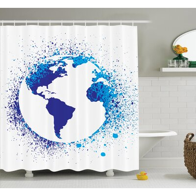 Globe with Ink Splatter Decor Shower Curtain Size: 69 H x 70 W