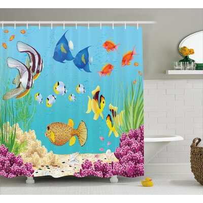 Water Plants and Fishes Decor Shower Curtain Size: 69 H x 84 W