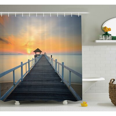 Long Exposure Deck Path by Sea Shore  Decor Shower Curtain Size: 69 H x 75 W